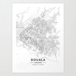 Douala, Cameroon - Light Map Art Print