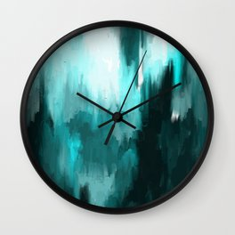 Ocean Water - an Aqua Blue Abstract painting with White Wall Clock