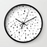 arrows Wall Clocks featuring Arrows by Justine Lecouffe