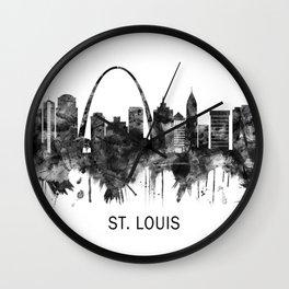 St. Louis Missouri Skyline BW Wall Clock