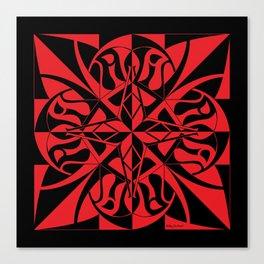Think Mandala - Black Red Canvas Print