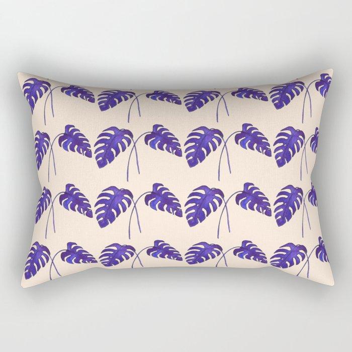 Indigo Monstera Leaf Watercolor on Blush Rectangular Pillow