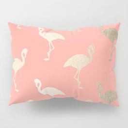 Gold Flamingo Pattern Coral Pink Pillow Sham