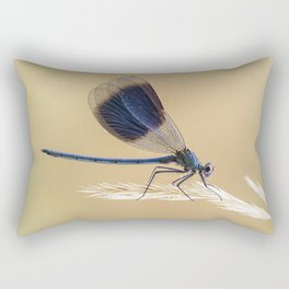 Banded Demioselle On Grass Rectangular Pillow