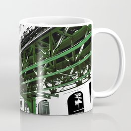 Chicago photography - Chicago EL art print in green black and white Coffee Mug