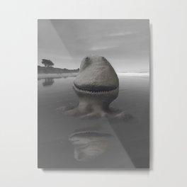 Smiling Dinosaur Sandcastle Metal Print