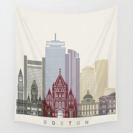 Boston skyline poster Wall Tapestry