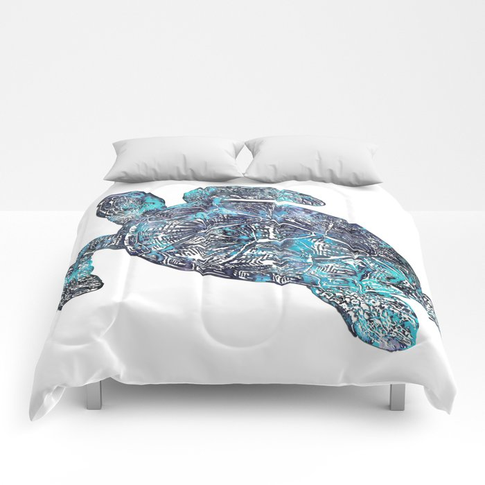 Sea Turtle Blue Watercolor Art Comforters
