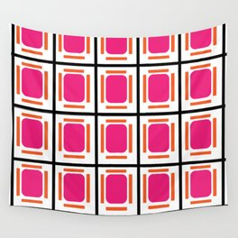 Pink Organs Black Checked and Lined Pattern Retro Wall Tapestry