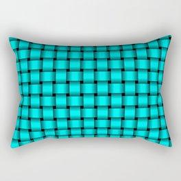 Small Cyan Weave Rectangular Pillow