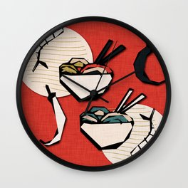 Noodle Bowl Red Wall Clock