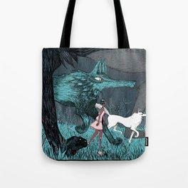 Woman Wolf wandering Tote Bag