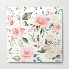 Watercolor Pink Peonies, Pink and White Roses and Greenery Metal Print