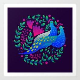 Peacock Love by SCD Balaji Art Print