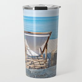 Wooden floor with chaise-longues and bue sea in Istria, Croatian coast Travel Mug