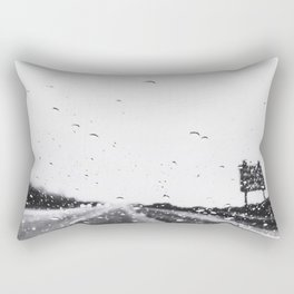 on the road in the rainy day in black and white Rectangular Pillow