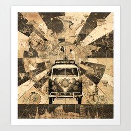 vintage voyager world map design 7 Art Print