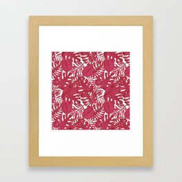 Modern tropical bright pink cheese leaves floral Framed Art Print