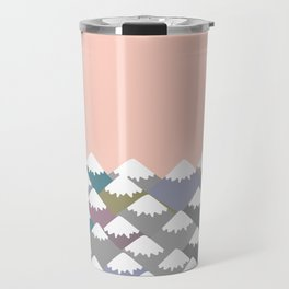 Nature background with Mountain landscape. Gray, pink, blue navy mountain with snow-capped peaks. Travel Mug