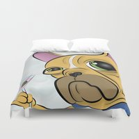 frenchie Duvet Covers featuring Frenchie by Kandus Johnson