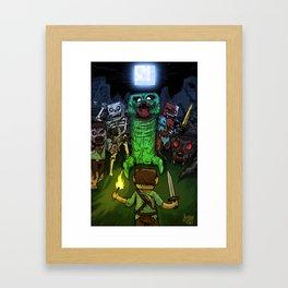 """""""Bring on the Night"""" Minecraft Illustration Framed Art Print"""