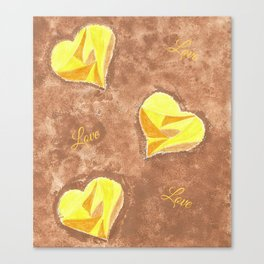Yellow and brown hearts pattern Canvas Print