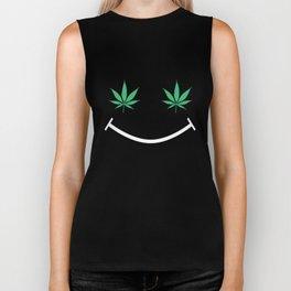 Happy Weed Smiley Face Biker Tank