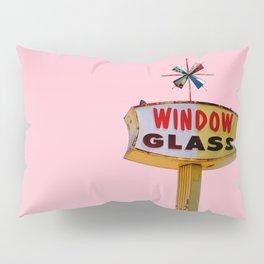 Atomic Pink Starburst - Vintage Googie-Style Sign with Pink Background Pillow Sham