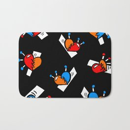 Hearts with Stitches - Blue Red Orange - Black Bath Mat