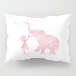 Girl And Elephant Kids Gift Colorful Pink Watercolor Art Pillow Sham