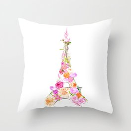 Paris in Bloom Throw Pillow
