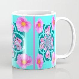 Pink Wild Roses with Teal & Aqua Color Designs Coffee Mug