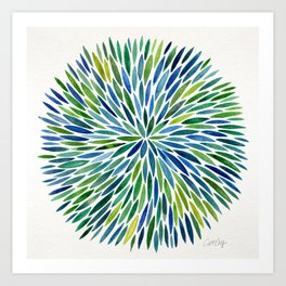 Watercolor Burst – Blue & Green Art Print