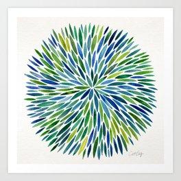 Watercolor Burst – Blue & Green Art Print