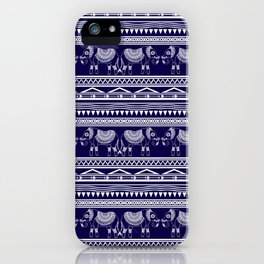 White and Navy Blue Elephant Pattern iPhone Case