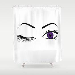 Violet Wink (Left Eye Open) Shower Curtain