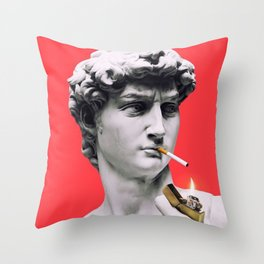 The Statue of David (Michelangelo) with Cigarette Throw Pillow
