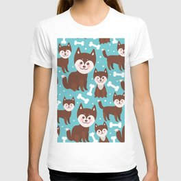 funny brown husky dog and white bones, Kawaii face with large eyes and pink cheeks blue background T-shirt