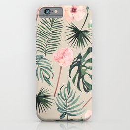 Tropical Floral and Leaves iPhone Case