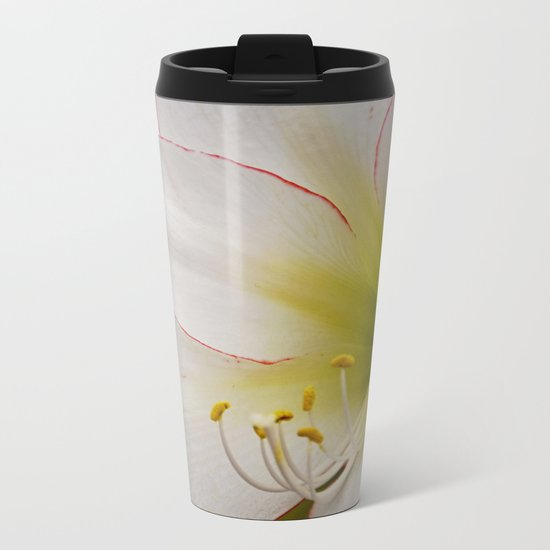White Amaryllis Metal Travel Mug