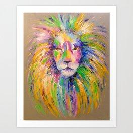 Colorful lion Art Print
