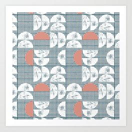 Mid-Century Check Pattern Art Print