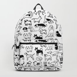 Black and White Dog Drawings | Cute Canines Pattern Backpack