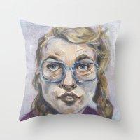 nerd Throw Pillows featuring Nerd by Carol Jimenez