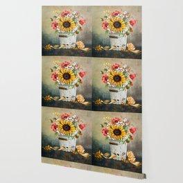 Farm Sunflowers in a Rustic Bucket Wallpaper