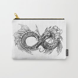 Ouroboros mythical snake on transparent background   Pencil Art, Black and White Carry-All Pouch