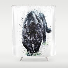 Panther watercolor painting predator animals puma Shower Curtain