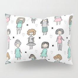 Girls illustration little women cute pattern kids rooms children gifts Pillow Sham