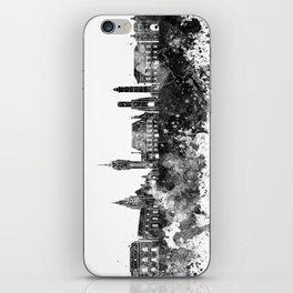 Calais skyline in black watercolor iPhone Skin