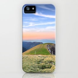 Twilight of top hill mountain scenics view in Alps iPhone Case